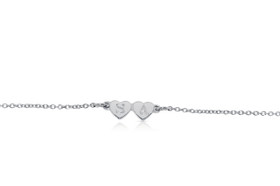 Sterling Silver Two Heart Cable Bracelet by Shin Brothers Jewelers Inc.