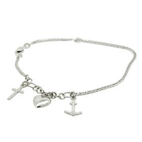 14K White Gold Faith, Hope and Charity Bracelet