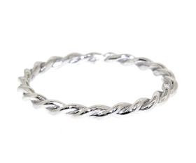 14k White Gold Twisted Rope Ring by Shin Brothers Jewelers Inc.