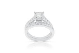 14K White Gold Diamond Engagement and Wedding Band Ring Sets