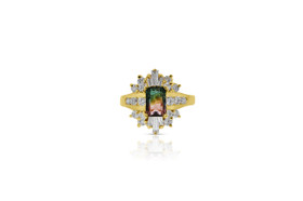 14K Yellow Gold Bi-color Tourmaline Diamond Ring by Shin Brothers Jewelers Inc.