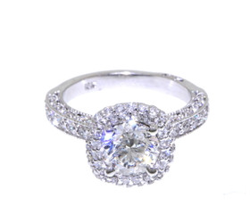 18K White Gold Diamond Engagement Ring by Shin Brothers Jewelers Inc.
