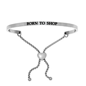 "Stainless Steel ""BORN TO SHOP"" with 0.005ct. Diamond Adjustable Friendship Bracelet by Shin Brothers Jewelers Inc."