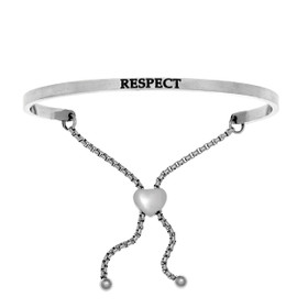 "Stainless Steel ""RESPECT"" with 0.005ct. Diamond Adjustable Friendship Bracelet by Shin Brothers Jewelers Inc."
