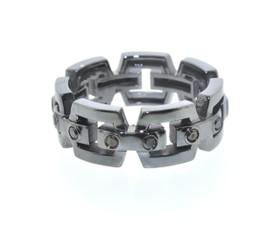 14K White Gold Black Rhodium Black Diamond Band by Shin Brothers Jewelers Inc.