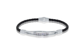 Leather Bracelet with Silver Magnetic Lock By Shin Brothers Jewelers Inc