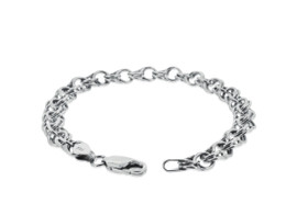 14K White Gold Charm Link Bracelet by Shin Brothers Jewelers Inc. 20001044