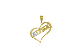 14K Yellow Gold Diamond Alyssa Heart Charm by Shin Brothers Jewelers Inc.