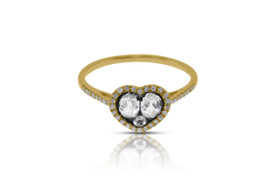 14K Yellow Gold Diamond and White Topaz Heart Ring By Shin Brothers Jewelers Inc.