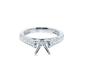 18k White Gold Diamond Engagement Ring Setting By Shin Brothers Jewelers Inc.