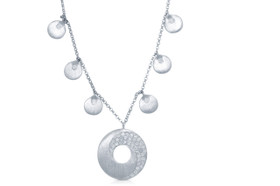 14K White Gold Circle Drops Necklace by Shin Brothers Jewelers Inc
