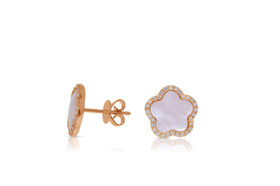 14k Pink Gold Mother of Pearl Clover Flower Earrings by Shin Brothers Jewelers Inc.