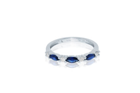 14k White Gold Diamond and Sapphire Ring by Shin Brothers Jewelers Inc.