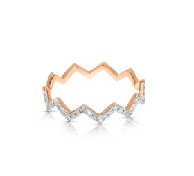 14k Pink Gold Fancy Diamond Band by Shin Brothers Jewelers Inc.