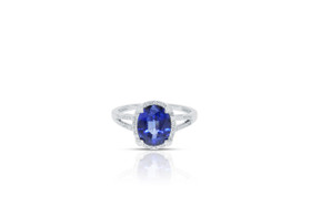14K White Gold Sapphire 3.55 carat and Diamond Ring 12002600
