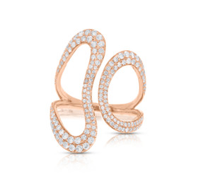 14K Pink Gold Diamond  Heart Adjustable Ring  by Shin Brothers Jewelers Inc.