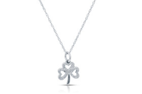 10K White Gold Diamond Clover Leaf Pendant By Shin Brothers Inc.