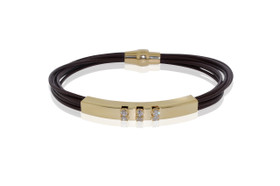 Magnet Lock Leather CZ Set With Silver Gold Overlay Bracelet by Shin Brothers Jewelers Inc.