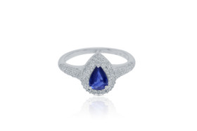 14K White Gold Pear Shape Sapphire And Diamond  Ring