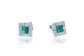 14K White Gold Emerald And Diamond Stud Earrings By Shin Brothers Inc.