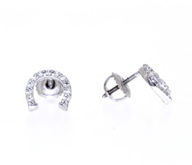 14K White Gold Cubic Zirconia Horse Shoe Stud Earrings By Shin Brothers Inc.
