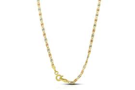 14K Tricolor Gold 24-inch Diamond Cut Marine Chain  30002678