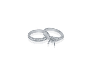 18K White Gold Fancy Diamond Engagement Ring Setting Set by Shin Brothers Jewelers Inc.
