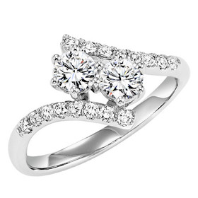 14K White Gold Twogether Diamond Ring By Shin Brothers Inc. 11005586