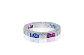 Silver Multicolor Cubic Zirconia  Band by Shin Brothers Jewelers Inc.  81210013