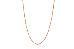 "14K Pink Gold 18""Singapore Chain By Shin Brothers Inc."