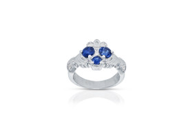 14k white gold 3 Stone Blue Sapphire Diamond Claddagh Ring 12002577 By Shin Brothers Jewelers Inc