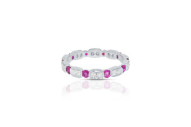 18k white gold Ruby Diamond Eternity Stackable Ring 12002577 By Shin Brothers Jewelers Inc