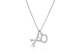 "14K White Gold 18"" Diamond Hug and Kiss Adjustable Necklace by Shin Brothers Jewelers Inc. 31000719"