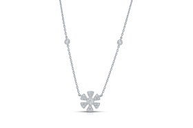 "14K White Gold 18"" Diamond Flower Adjustable Necklace by Shin Brothers Jewelers Inc.31000718"