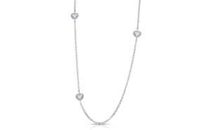 14K White Gold Diamond Heart by Yard 16 inches Necklace By Shin Brothers Inc.31000684