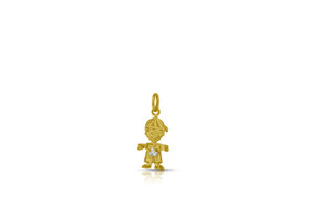 14K Yellow Gold Cubic Zirconia Boy Pendant with Synthetic white stone 52001882