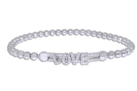 Silver CZ Love Beads Expension Bracelet