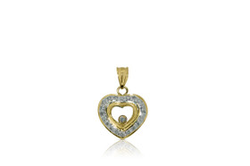 18K Yellow Gold Floating Diamond Heart Pendant by Shin Brothers Jewelers Inc.