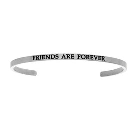 "Stainless Steel ""Friends  Are Forever""  Diamond Cuff Bangle by Shin Brothers Jewelers Inc."