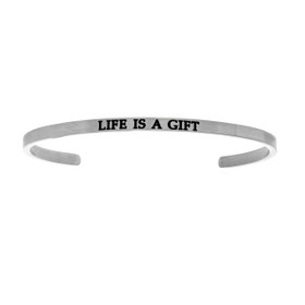 "Stainless Steel ""Life Is A Gift""  Diamond Cuff Bangle by Shin Brothers Jewelers Inc."