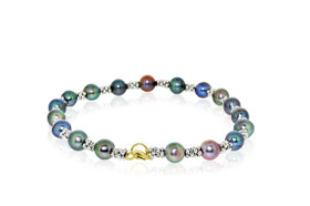14K White Gold Multicolored Fresh Water Dyed Pearl Bracelet by Shin Brothers Jewelers Inc.