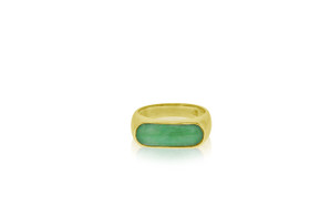14K Yellow Gold Natural Jade bezal Set Ring by Shin Brothers Jewelers Inc.
