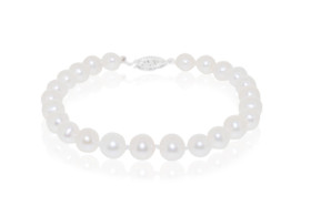 14K White Gold Fresh Water Cultured Pearl Bracelet with Fish Hook Clasp