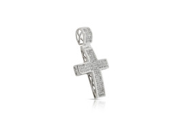 14K Yellow Gold princess Cut Invisible Set Diamond Cross Charm by Shin Brothers Jewelers Inc. 51001796