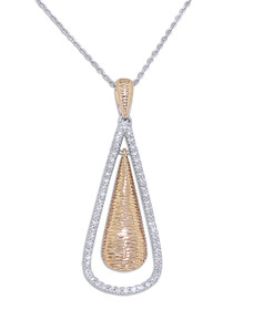 "14K  White And Yellow Gold 18""  Fancy Diamond Drop Necklace"