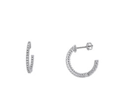 White Gold Diamond Half Hoop Earrings 41002134