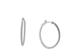14K White Gold CZ Safety Latch Back Hoop Earrings  42002775