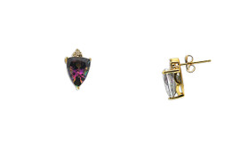 10K Yellow Gold Diamond Mystic Topaz Earrings 49000140