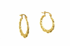 14K Yellow Gold Bamboo Hoop Earrings 40002310
