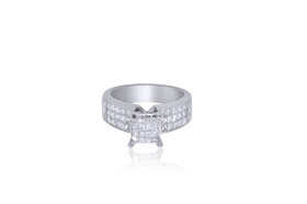14K White gold Invisible Set Diamond Engagement Ring